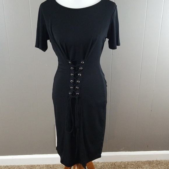 Forever 21 plus size black corset front dress